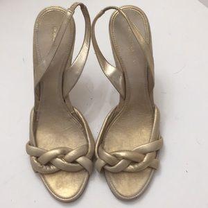 BCBGMAXAZRIA gold heels